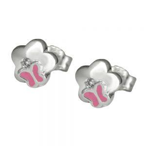 Boucles oreilles fleur avec papillon argent 925 Krossin bijoux en argent 91764xx
