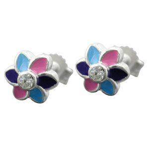 Boucles oreilles fleur multicolore argent 925 Krossin bijoux en argent 91681xx