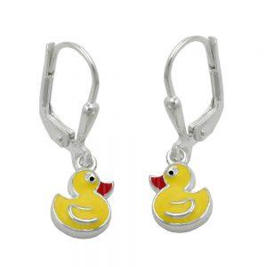 Boucles oreilles goujons jaune canard argent 925 Krossin bijoux en argent 91803xx