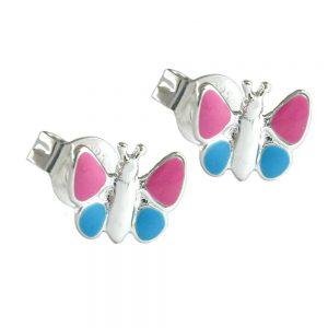 Boucles oreilles papillons roses argent 925 Krossin bijoux en argent 92366xx