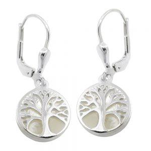 Boucles oreilles pendantes arbre perle argent 925 Krossin bijoux en argent 93754xx