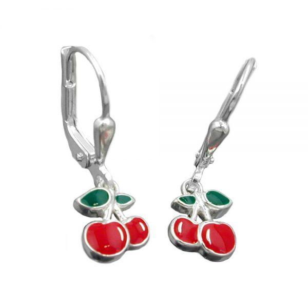Boucles oreilles pendantes cerises argent 925 Krossin bijoux en argent 93331xx