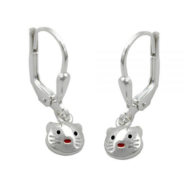 Boucles oreilles pendantes chat argent 925 Krossin bijoux en argent 91295xx