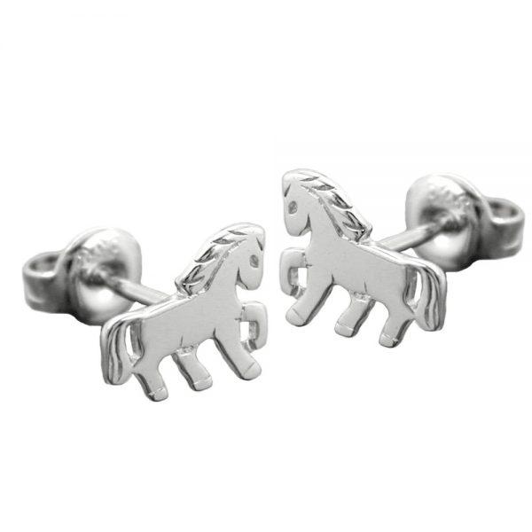 Boucles oreilles pendantes cheval poli argent 925 Krossin bijoux en argent 93369xx