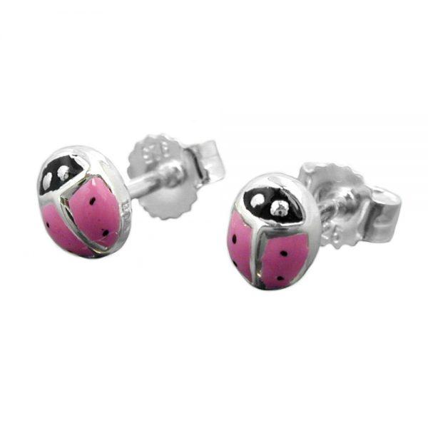 Boucles oreilles pendantes coccinelle rose argent 925 Krossin bijoux en argent 93337xx