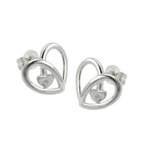 Boucles oreilles pendantes coeur Zircon argent 925 Krossin bijoux en argent 92295xx