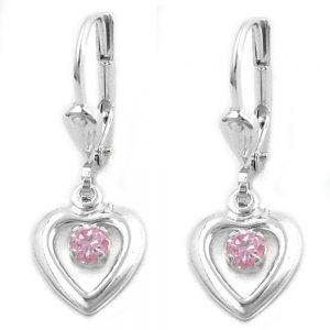 Boucles oreilles pendantes coeur Zircon rose argent 925 Krossin bijoux en argent 90861xx