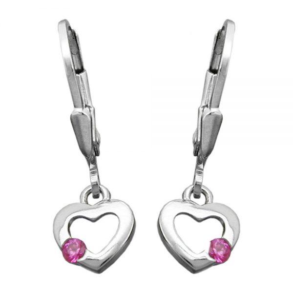 Boucles oreilles pendantes coeur argent 925 Krossin bijoux en argent 93433xx