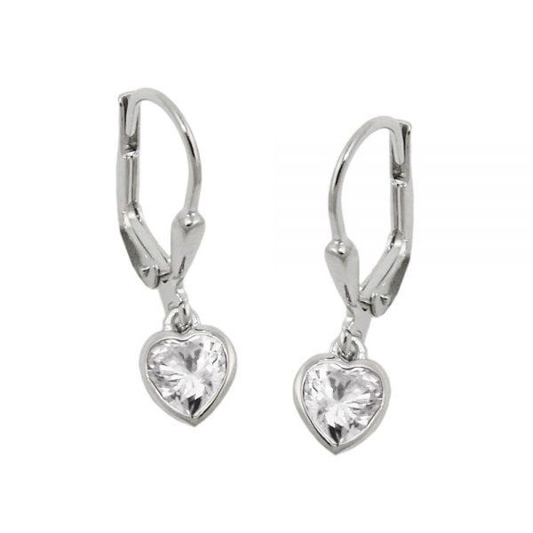 Boucles oreilles pendantes coeur argent 925 Krossin bijoux en argent 93766xx