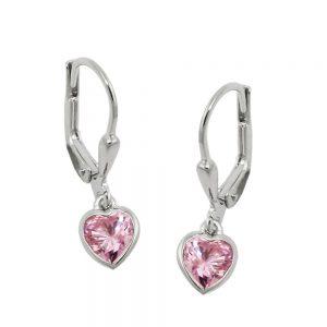 Boucles oreilles pendantes coeur argent 925 Krossin bijoux en argent 93767xx