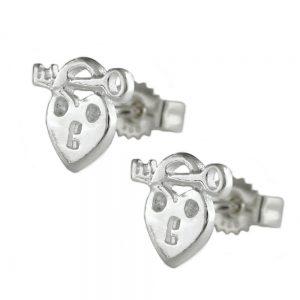 Boucles oreilles pendantes coeur avec cle argent 925 Krossin bijoux en argent 92631xx