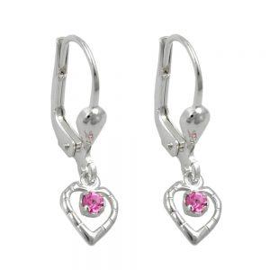 Boucles oreilles pendantes coeur rose argent 925 Krossin bijoux en argent 90814xx