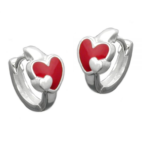 Boucles oreilles pendantes coeur rouge argent 925 Krossin bijoux en argent 90735xx