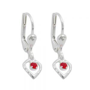 Boucles oreilles pendantes coeur rouge argent 925 Krossin bijoux en argent 90807xx