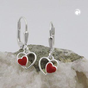 Boucles oreilles pendantes coeur rouge argent 925 Krossin bijoux en argent 93472x