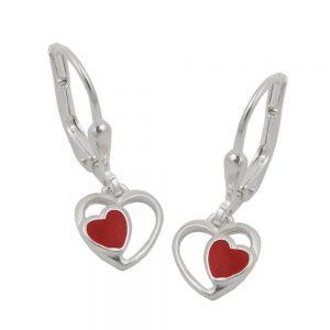Boucles oreilles pendantes coeur rouge argent 925 Krossin bijoux en argent 93472xx
