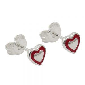 Boucles oreilles pendantes coeur rouge argent 925 Krossin bijoux en argent 93638xx