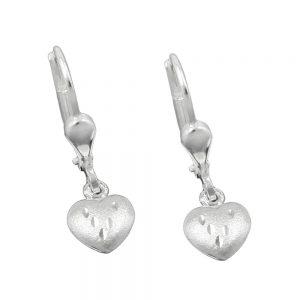 Boucles oreilles pendantes coeurs argent 925 Krossin bijoux en argent 93105xx