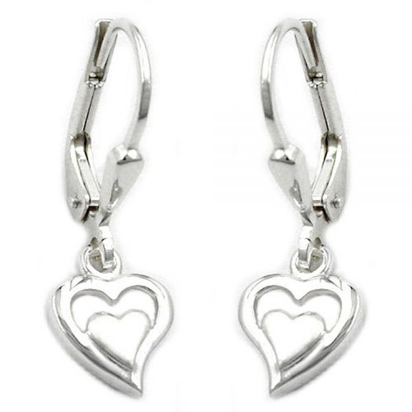 Boucles oreilles pendantes coeurs argent 925 Krossin bijoux en argent 93201xx