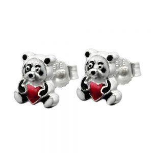 Boucles oreilles pendantes colorees panda argent 925 Krossin bijoux en argent 93339xx