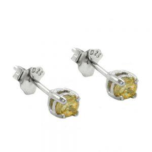 Boucles oreilles pendantes cristaux 3mm jaune argent 925 Krossin bijoux en argent 92453xx