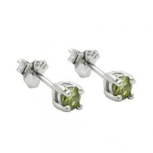Boucles oreilles pendantes cristaux 3mm vert olive argent 925 Krossin bijoux en argent 92448xx