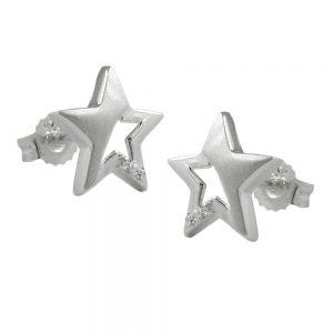 Boucles oreilles pendantes etoile Zircon argent 925 Krossin bijoux en argent 91237xx