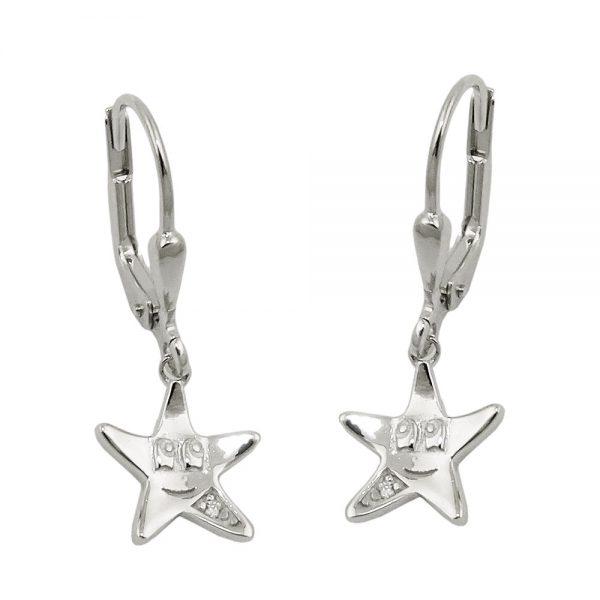 Boucles oreilles pendantes etoile argent 925 Krossin bijoux en argent 93772xx