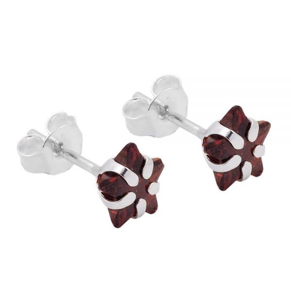 Boucles oreilles pendantes etoile rouge argent 925 Krossin bijoux en argent 93530xx