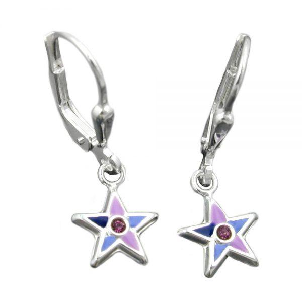 Boucles oreilles pendantes etoiles argent 925 Krossin bijoux en argent 93336xx