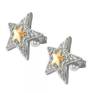 Boucles oreilles pendantes etoiles avec Zircon deux tons argent 925 Krossin bijoux en argent 91861xx