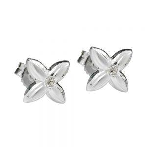 Boucles oreilles pendantes fleur blanc Zircon argent 925 Krossin bijoux en argent 92044xx
