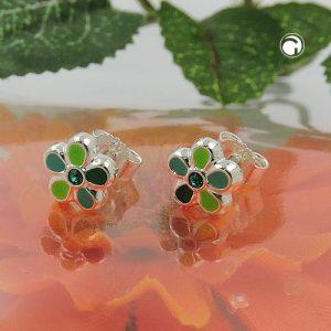 Boucles oreilles pendantes fleur verte argent 925 Krossin bijoux en argent 93640x