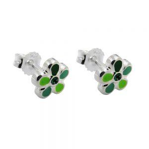 Boucles oreilles pendantes fleur verte argent 925 Krossin bijoux en argent 93640xx