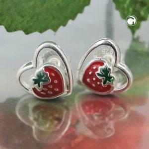 Boucles oreilles pendantes fraises argent 925 Krossin bijoux en argent 93471x