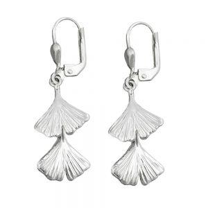 Boucles oreilles pendantes ginkgo feuille 925 Krossin bijoux en argent 92057xx