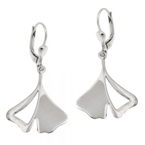 Boucles oreilles pendantes ginkgo feuille 925 Krossin bijoux en argent 93586xx