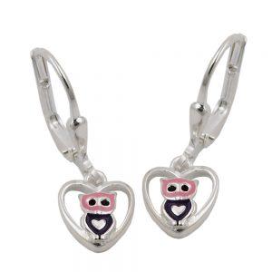 Boucles oreilles pendantes hibou argent 925 Krossin bijoux en argent 93468xx