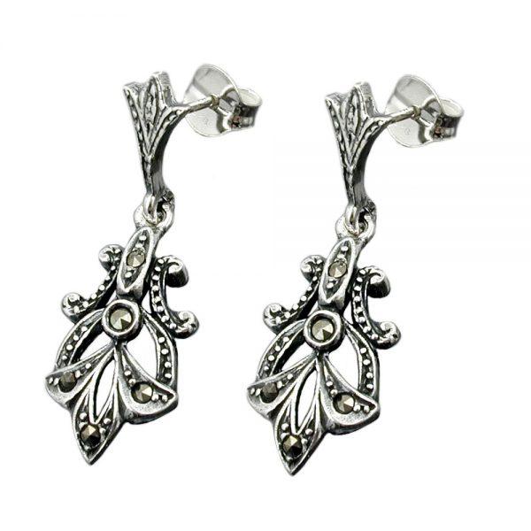 Boucles oreilles pendantes marcassite argent 925 Krossin bijoux en argent 93391xx