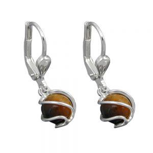 Boucles oreilles pendantes oeil de tigre argent 925 Krossin bijoux en argent 90705xx