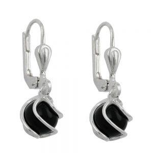 Boucles oreilles pendantes onyx 6mm argent 925 Krossin bijoux en argent 90391xx