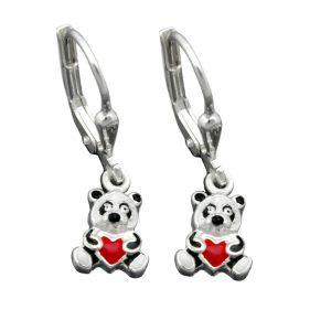 Boucles oreilles pendantes panda argent 925 Krossin bijoux en argent 93334xx