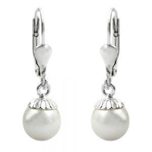 Boucles oreilles pendantes perle argent 925 Krossin bijoux en argent 90641xx