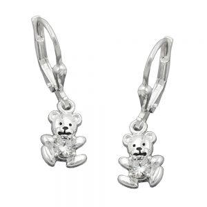Boucles oreilles pendantes petit ours avec Zircon argent 925 Krossin bijoux en argent 91708xx