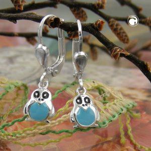 Boucles oreilles pendantes pingouin argent 925 Krossin bijoux en argent 93633x