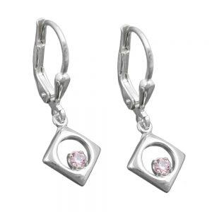 Boucles oreilles pendantes rose Zircon argent 925 Krossin bijoux en argent 91546xx