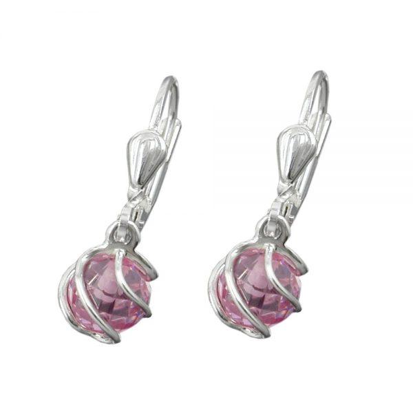 Boucles oreilles pendantes rose ce argent 925 Krossin bijoux en argent 90179xx