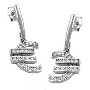 Boucles oreilles pendantes symbole de leuro Zircon argent 925 Krossin bijoux en argent 92573xx