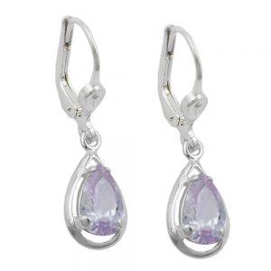 Boucles oreilles pendantes violet Zircon argent 925 Krossin bijoux en argent 91477xx