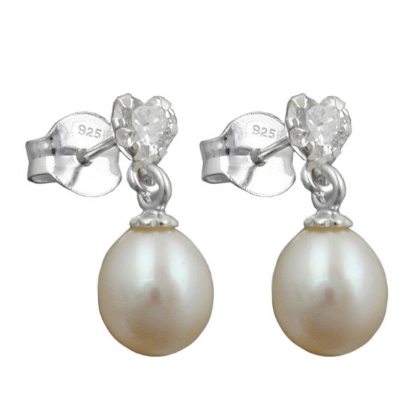 Boucles oreilles perle et Zircon argent 925 Krossin bijoux en argent 93411xx